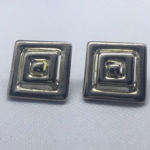 Vintage Erwin Pearl Modern Silver Tone Earrings